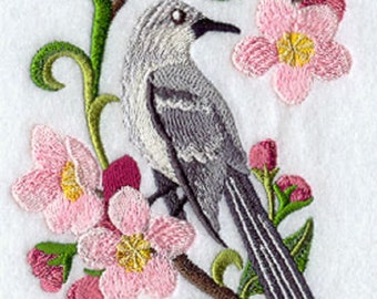 Arkansas Mockingbird and Apple Blossom Embroidered Towel, Arkansas Mockingbird Towel, Arkansas Apple Blossom Towel, Arkansas Flag Towel