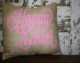 Happy Easter Pillow Cover, Throw Pillow, 16x16 or 12x16 Pillow Cover,  Easter Decor Pillow