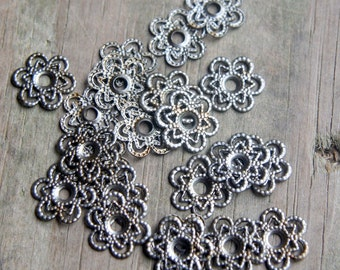 20 Vintage filigree metal flower findings