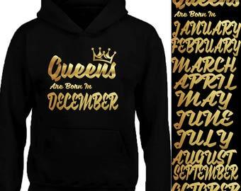 New GOLD Queens Born In 12 MONTHS HOODIE Sweatshirt Birthday Party Hoodie Sweater Your Birthday Hoodie Tank Top