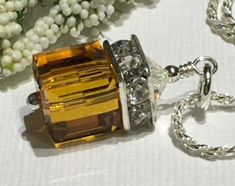 Necklace-Chain-Birthstone-November Birthday-Topaz Swarovski Crystal Cube Pendant-Gold Square-Sterling Silver Chain-Choose 16-18 Inches-Gift