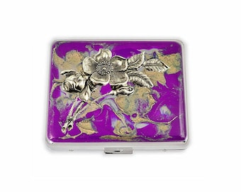 Art Nouveau Flowers Weekly Pill Box inlaid in Hand Painted Purple and Gold Enamel Quartz Design with Personalized and Color Options