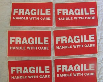 Vintage Stickers Fragile Handle With Care Lot of 6