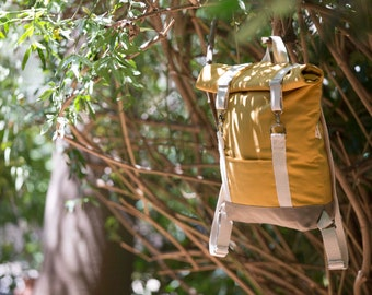 "Roll top backpack. Mustard yellow, lightweight cotton canvas rucksack. Laptop 15"" bag"