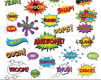 Comic Book Clipart, Superhero Text Clipart, Comic Text Clip Art, Digital Words, Digital Comic Text, Superhero Clip Art, Comic Book Clip Art