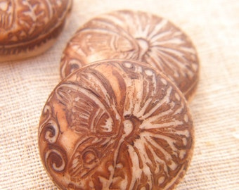 Cinnamon Cream - Fluttering Butterfly Round Bead - handpainted polymer clay butterfly wildflower rustic boho chic (ready to ship)