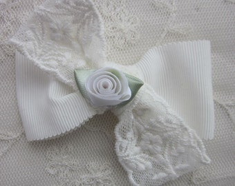 IVORY Lace Grosgrain Satin Ribbon Rose Bud Flower Bow Applique Bridal Baby Hair Accessory