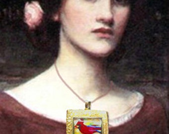 Cardinal Bird Druzy Pendant Necklace