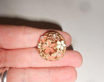 Flower Ring 70s Pink Enameled Dome With Rhinestone Vintage Adjustable