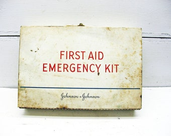 Vintage First Aid Kit - Metal Storage - Industrial Storage - Hobby Bin Gadget Box - Johnson and Johnson - Vintage Medical Assortment
