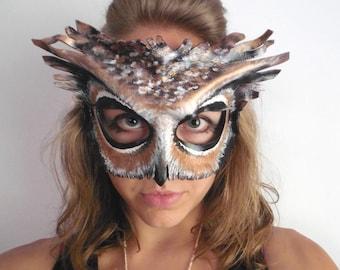 Leather Owl Mask - Black or White Owl Halloween Mask - Masquerade Mask - Halloween Animal Costume - Woodland Great Horned Owl Mask