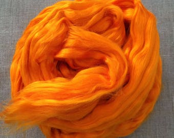 Orange Bamboo Dyed Roving Vegan  Fiber 100 gr Spin Flora plant fibre combed top viscose doll hair needle felt hand spinning Free Shipping