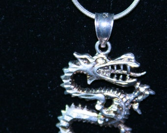 Vintage 1980s Sterling Silver Cut Dragon Necklace