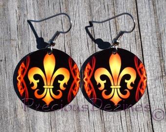 Fleur de Lis design earrings. High quality image printed on metal earrings. Fleur de Lis