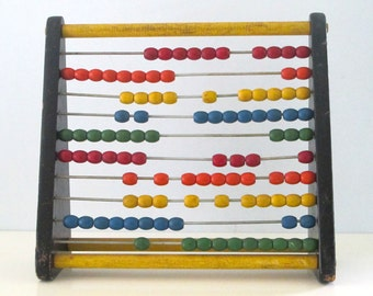 Vintage Holgate Wooden Counting Frame Abacus Rainbow Beads Learning Game