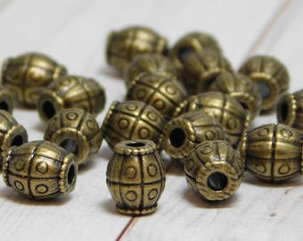 8x7mm - Metal Beads - Large Hole Beads - Barrel Beads - Spacer Beads - Bronze Beads - Pewter Beads - 20pcs -(B594)