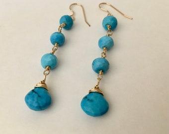 Turquoise gemstone gold dangle earrings