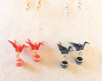Origami, 2 colors, Origami crane dangle skull earrings, 2 colors