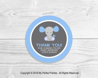 Personalised Blue Elephant Baby Shower, Boy Baby Shower, Baby Boy, Elephant, Baby Shower, Thank You Stickers, Thank You Seals - PACK OF 35
