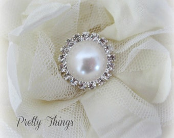 White Pearl and Rhinestone Buttons. QTY: 3 Buttons