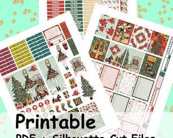 Noel Christmas Printable Planner Stickers, Weekly Kit, Weekly Planner Stickers, Printable Weekly Kit, Christmas, Winter Weekly Kit,