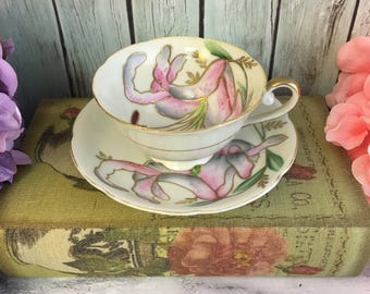 Royal Sealy Lily Tea Cup and Saucer Fine Bone China Vintage Japan Made Lovely EVC teacup