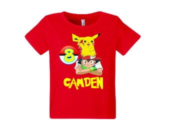 Pokemon Birthday Shirt Add Name & Age Pokemon Custom Birthday Party TShirt..
