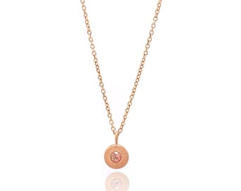 Floating Pink Tourmaline Necklace - Delicate 18k Rose Gold Vermeil Chain - Small Rose Gold Vermeil Disc and Gemstone Charm - 16in. Necklace