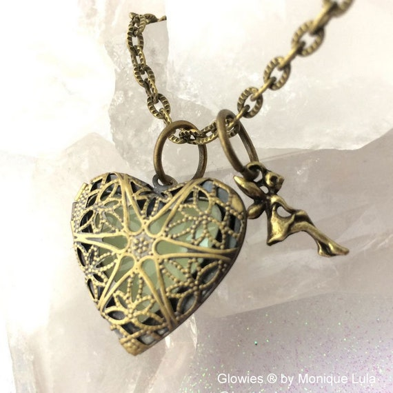 Glowing Faerie Ren-steam Heart Locket Necklace Fairytale Steampunk