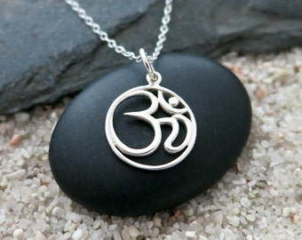 Silver Om Necklace, Sterling Silver Om Charm, Yoga Jewelry