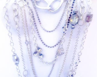 Silver Layered Chain Necklace Fashion Jewelry