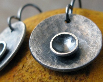 Rustic sterling silver earrings.  Artisan chic handmade oxidized brushed jewelry.  Urban dome and texture discs.  Eclipse.