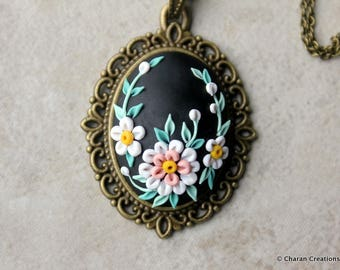 Lovely Polymer Clay Applique Statement Pendant Necklace in Black and White