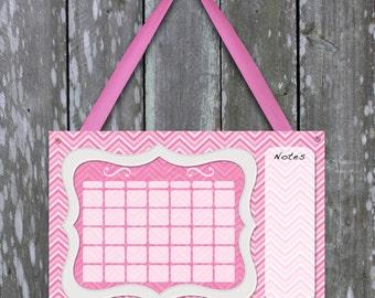 Cute pink chevron print dry erase calendar for girls