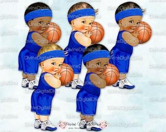 Little Prince Vintage Baby Boy Basketball | Royal Blue Uniform Shorts Jersey | 3 Skin Tones | Clipart Instant Download