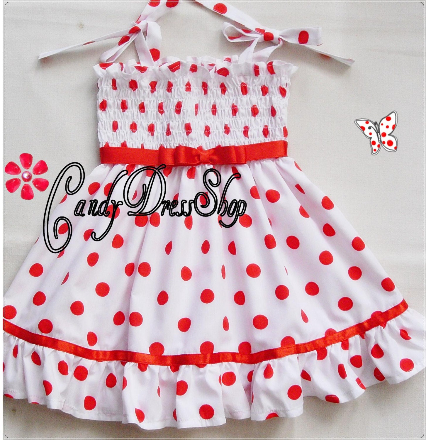Shirley Temple inspired dress for little girls white with red