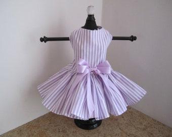 Dog Dress  Lavender stripes