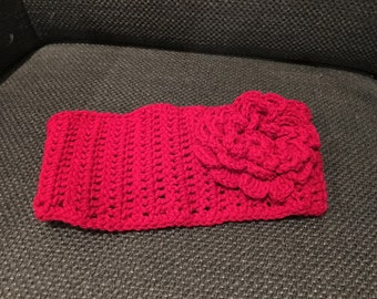Adjustable Headband with Flower, hand-made, crochet, adults and teens