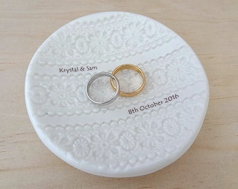 Personalised ring dish. White porcelain ceramic ring bowl with names and date. Wedding pillow alternative. Wedding or engagement gift.