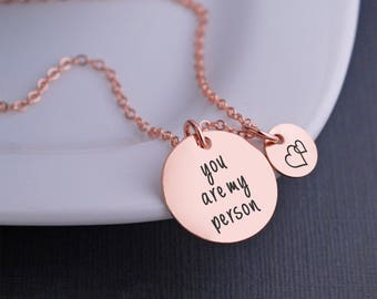 Rose Gold You are My Person Necklace, Custom Anniversary Gift for Wife, Rose Gold Necklace for Best Friend, Gift for Girlfriend