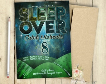 Sleep Over Invitation | Slumber Party Invitation | Boys Party Invitation | Birthday Party Invitation | PRINTABLE | Galaxy | Universe