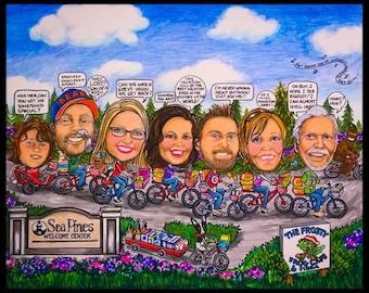 Custom caricature, portrait caricature, portrait cartoon, family portrait, family cartoon, cartoon portrait, personalized portrait, t