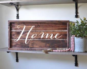 home sign, framed shiplap, rustic wood sign