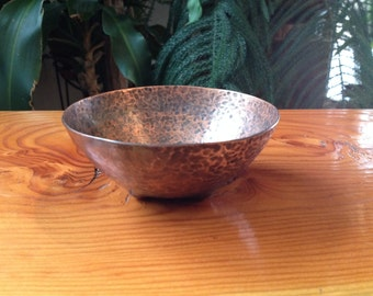 Hand Hammered Copper Bubble Footed Bowl with Patina