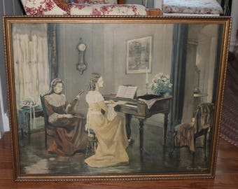 Vintage Large Art Frederic Mizen Framed Print // Piano and Violin // Under Glass with Signature