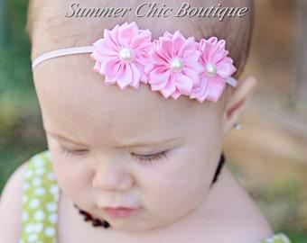 You Pick Color- Baby Headband, Infant Headband, Toddler Headband, Triple Satin Flower Headband on skinny elastic