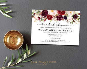 Bridal Shower Invitation |  Printable Bridal Shower Invite | Floral, Red, Marsala, Burgundy, Garden, Roses | Holly Collection | Digital File