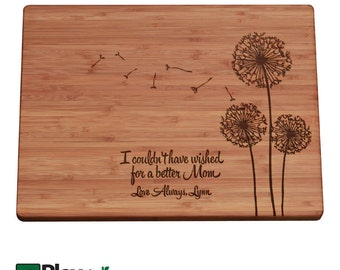 Mothers Day Personalized Engraved Cutting Board with Dandelion design, Custom Cutting Board