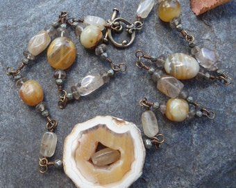Agate / Petrified Wood Focal Necklace #62