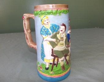 Hand painted bisque German beer stein, vintage 1970's beer stein, vintage barware, beer mug. ceramic beer mug